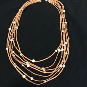 Jewelry - Suede tan necklace with gold and silver tones NWOT